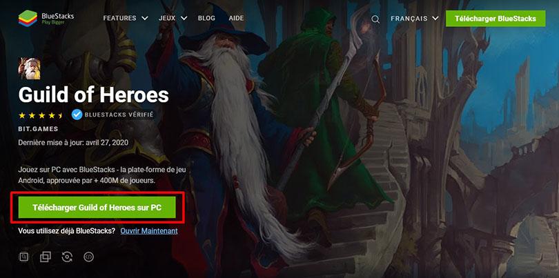 télécharger bluestacks pour guild of heroes