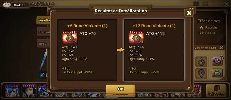 Amélioration rune violente +12 Summoners War