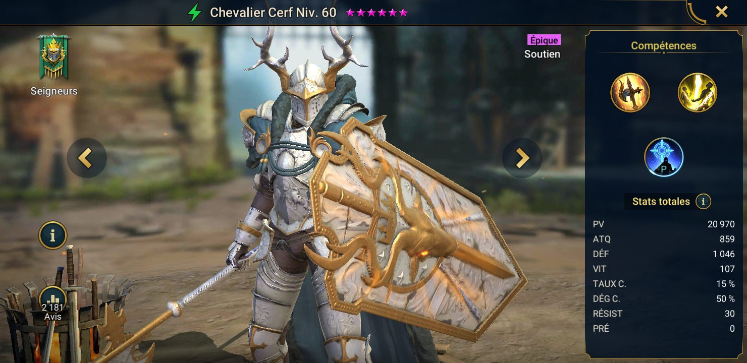 présentation de chevalier cerf raid shadow legends