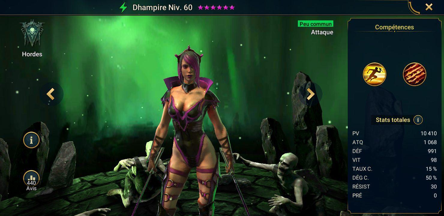 présentation de dhampire raid shadow legends