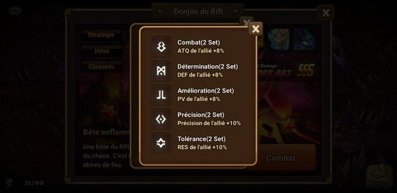 Les différentes runes à obtenir dans la Bête de l'orage Summoners War
