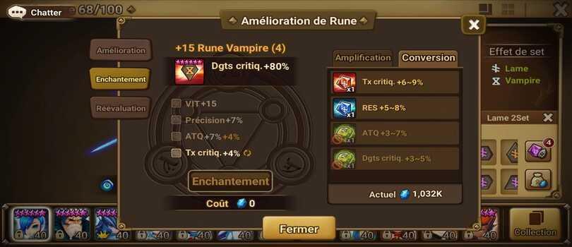 Les enchantements des runes dans Summoners War