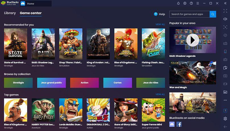 Bluestacks émulateur Android pour PC : nombreux jeux disponibles