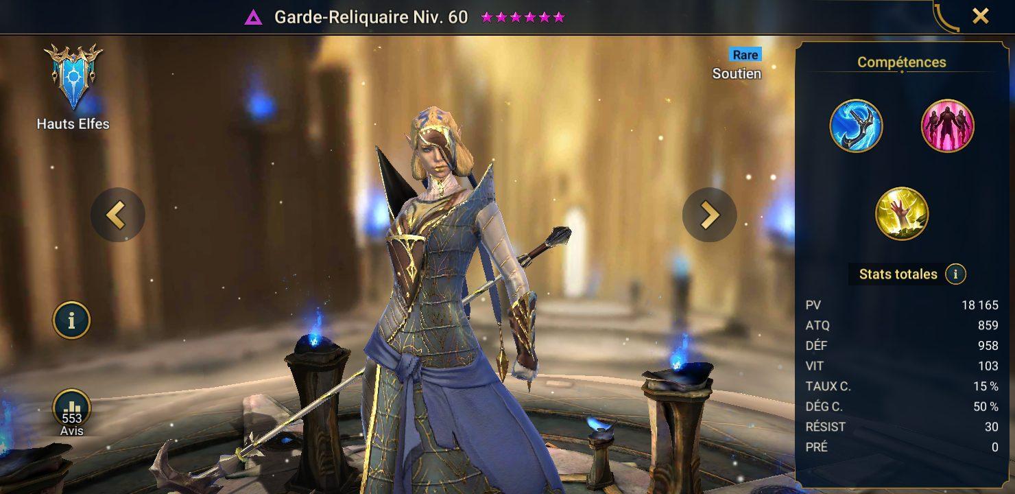 présentation de garde reliquaire raid shadow legends