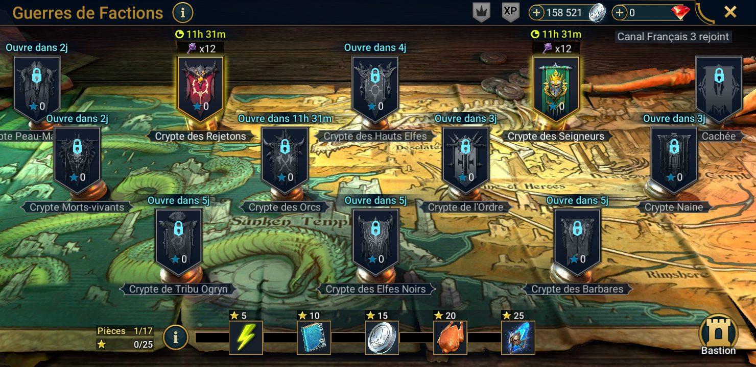 carte des guerres des factions ou l'on trouve les glyphes