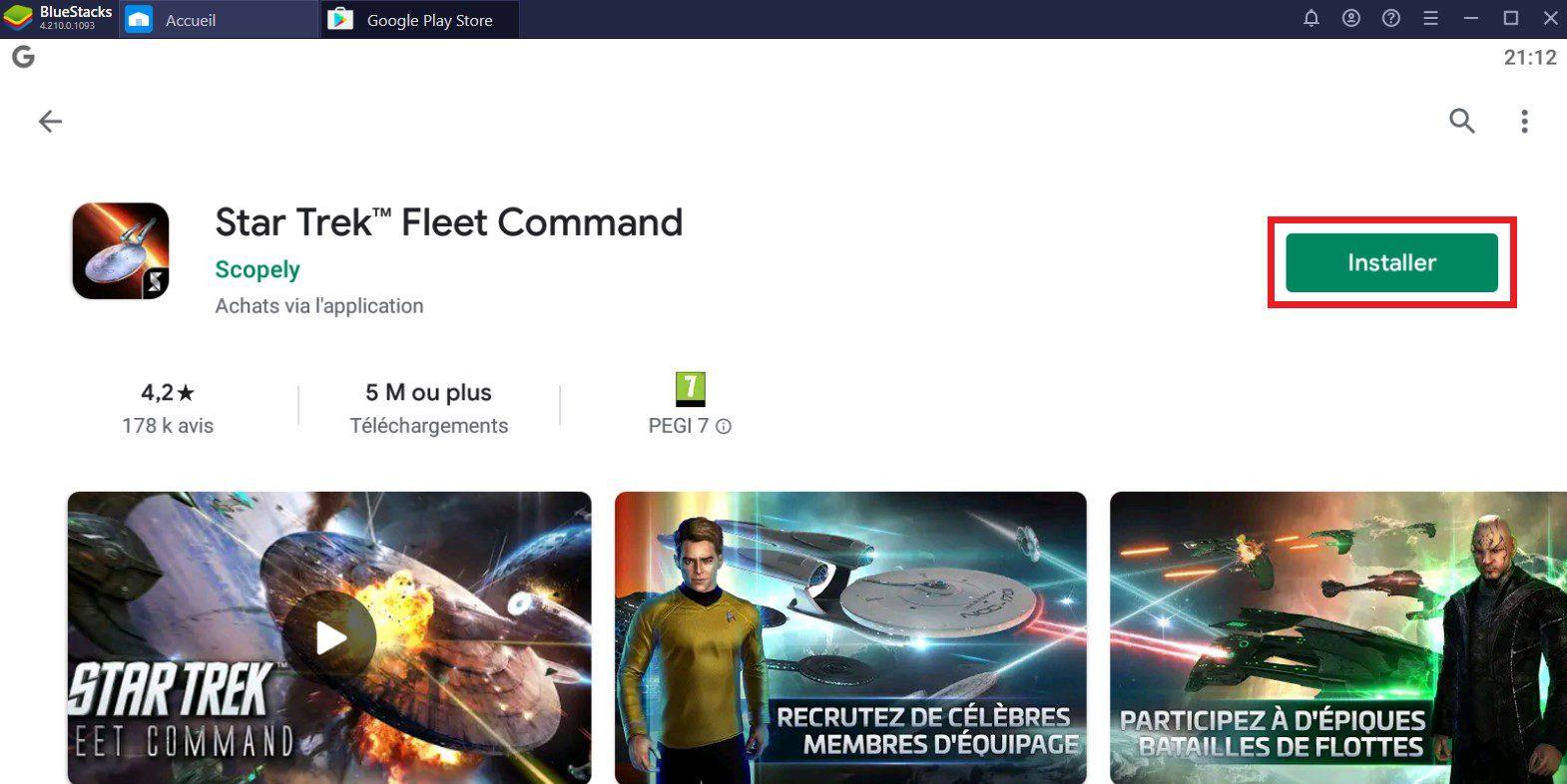 installer star trek fleet command sur pc