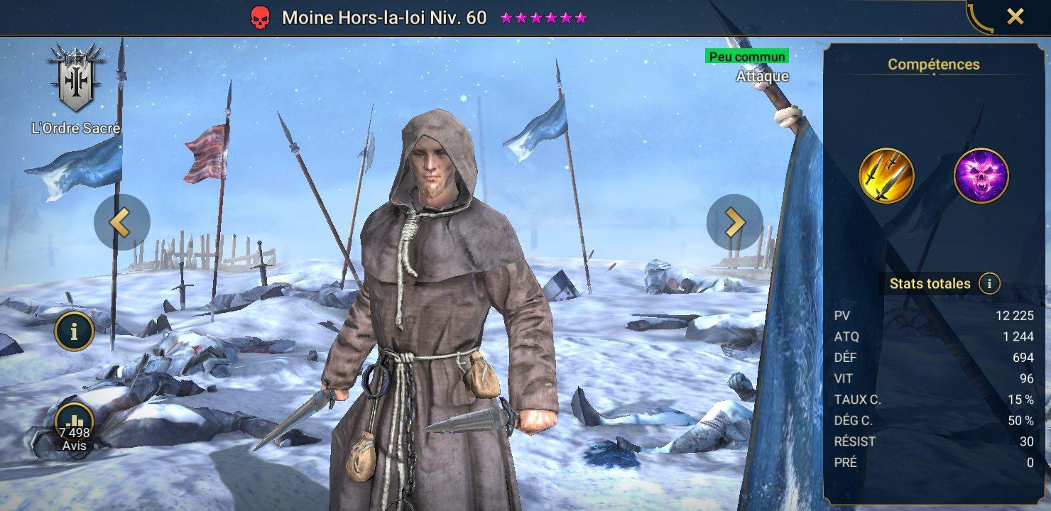 présentation de moine hors la loi raid shadow legends
