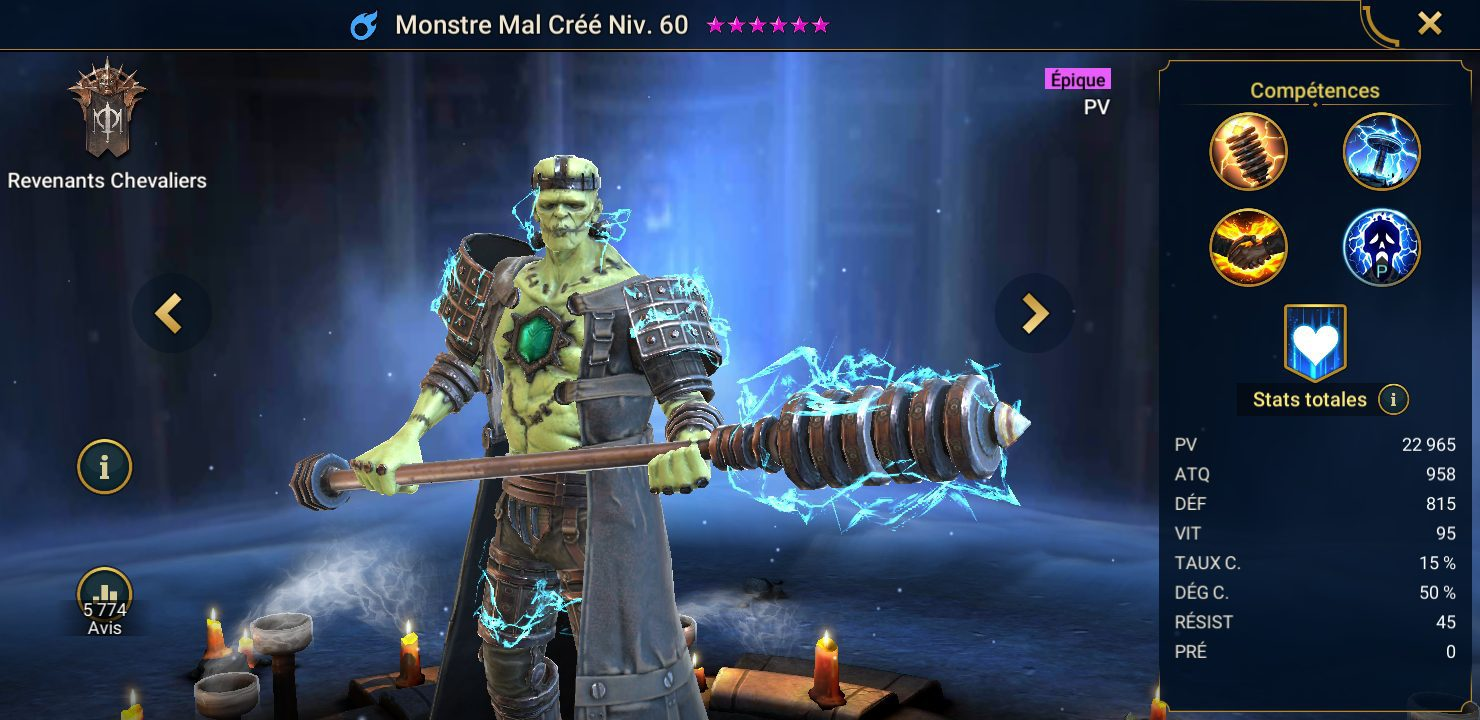 présentation de monstre mal cree raid shadow legends