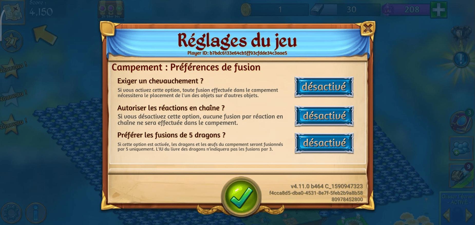 Merge Dragons : desactiver les reactions en chaine