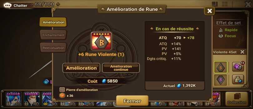 rune violente Summoners War