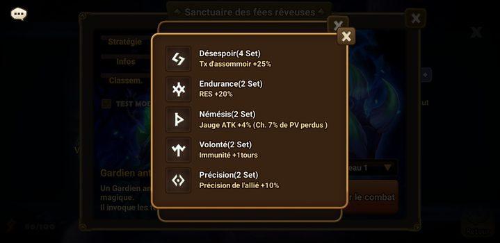 runes sanctuaire des fées rêveuses Summoners War