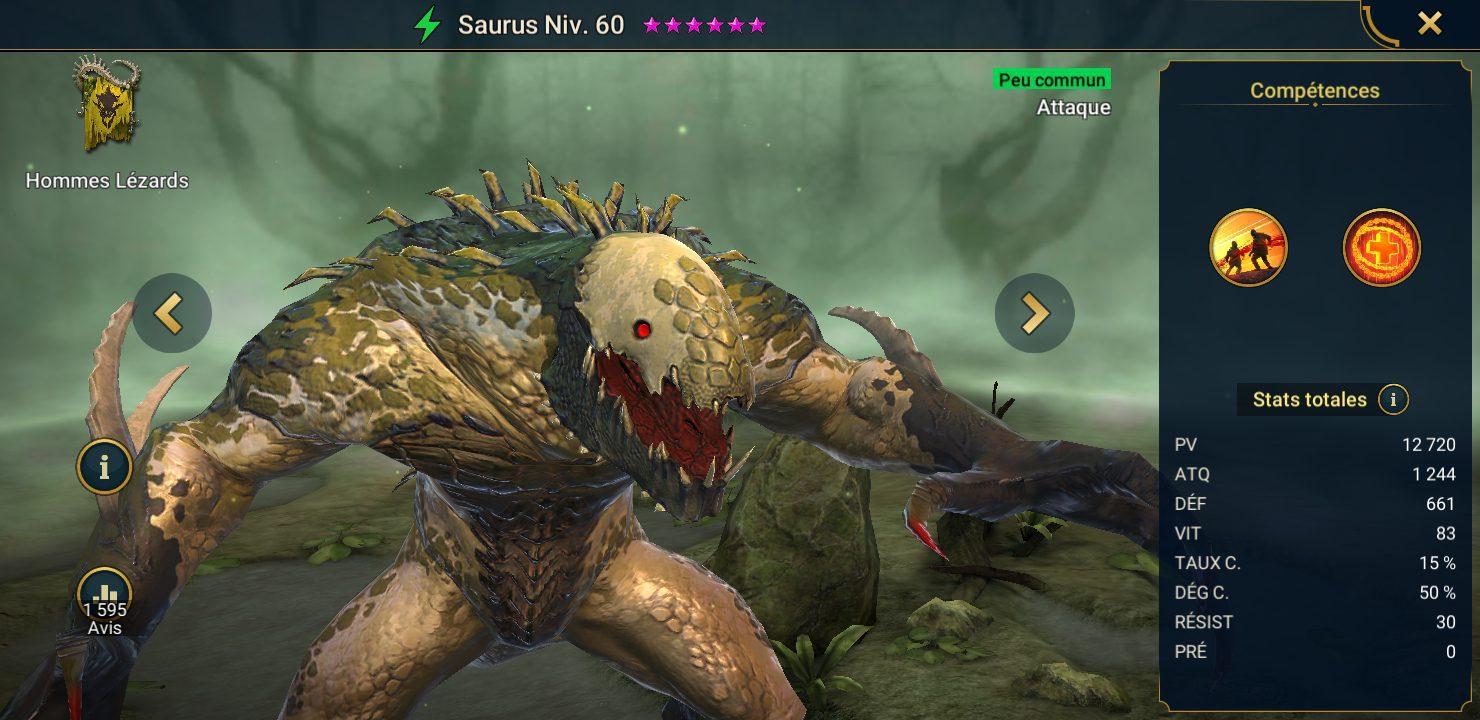 présentation de saurus raid shadow legends