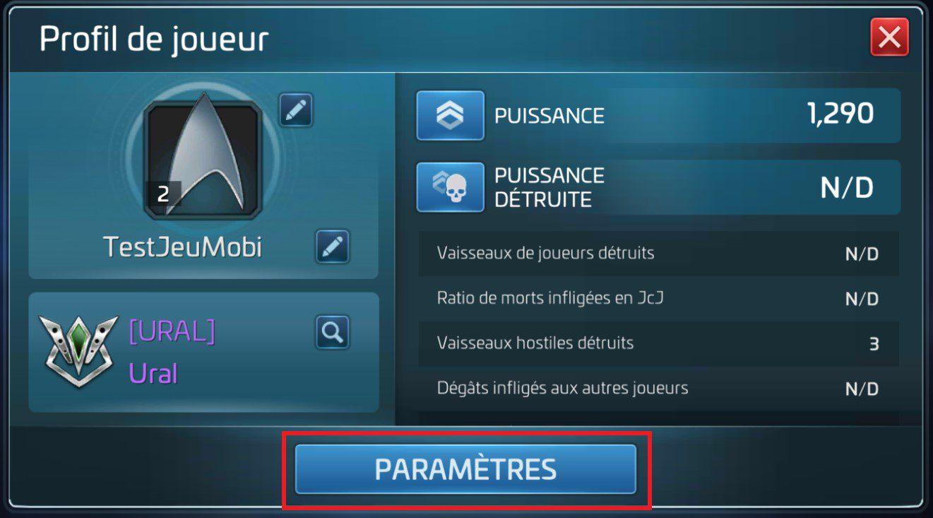 profil de joueur parametres