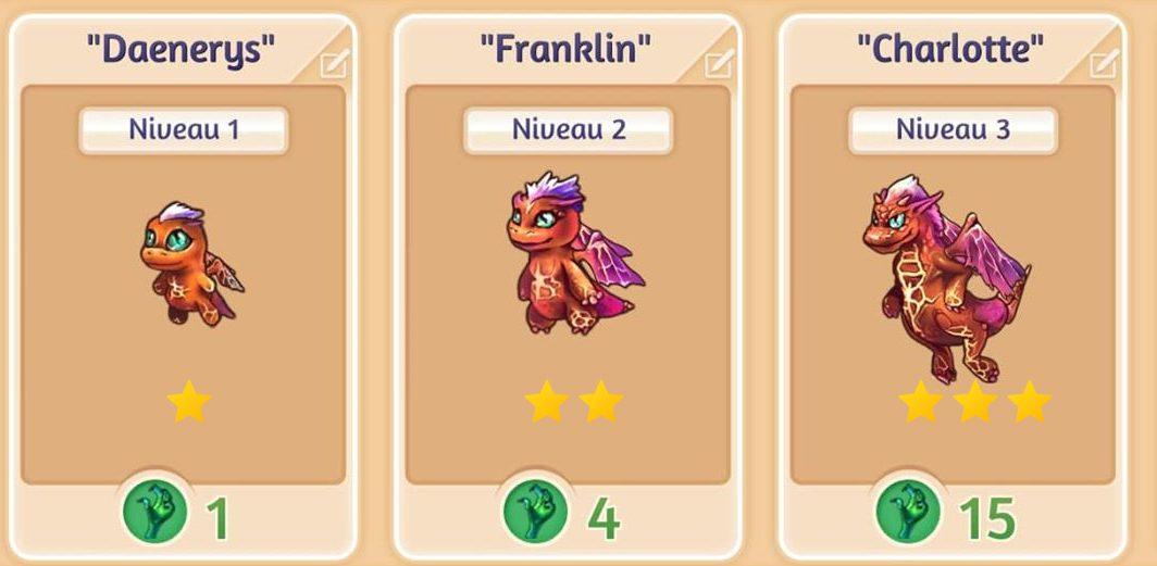 Évolution des dragons dans Merge Dragons!