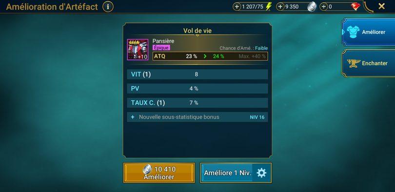 amélioration artefacts +10 Raid: Shadow Legends