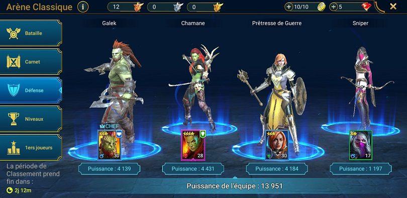 Un exemple de défense pour l'arène Raid: Shadow Legends