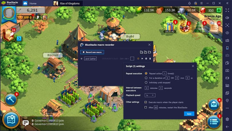 création de macros pour optimiser rise of Kingdoms