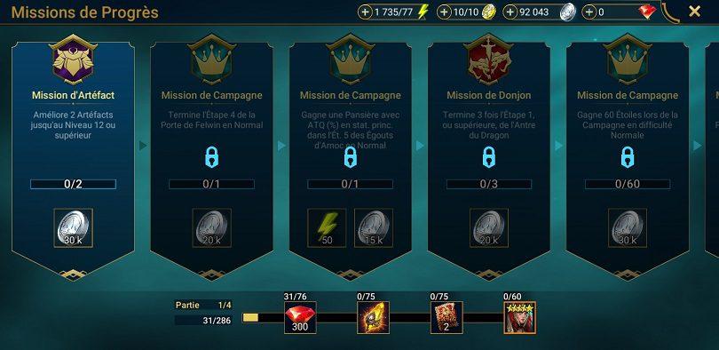 Les missions de progrès de Raid: Shadow Legends