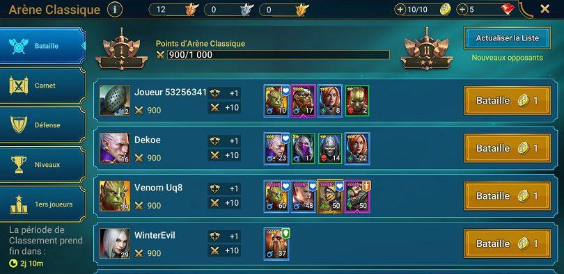 Onglet attaque de l'arène Raid: Shadow Legends