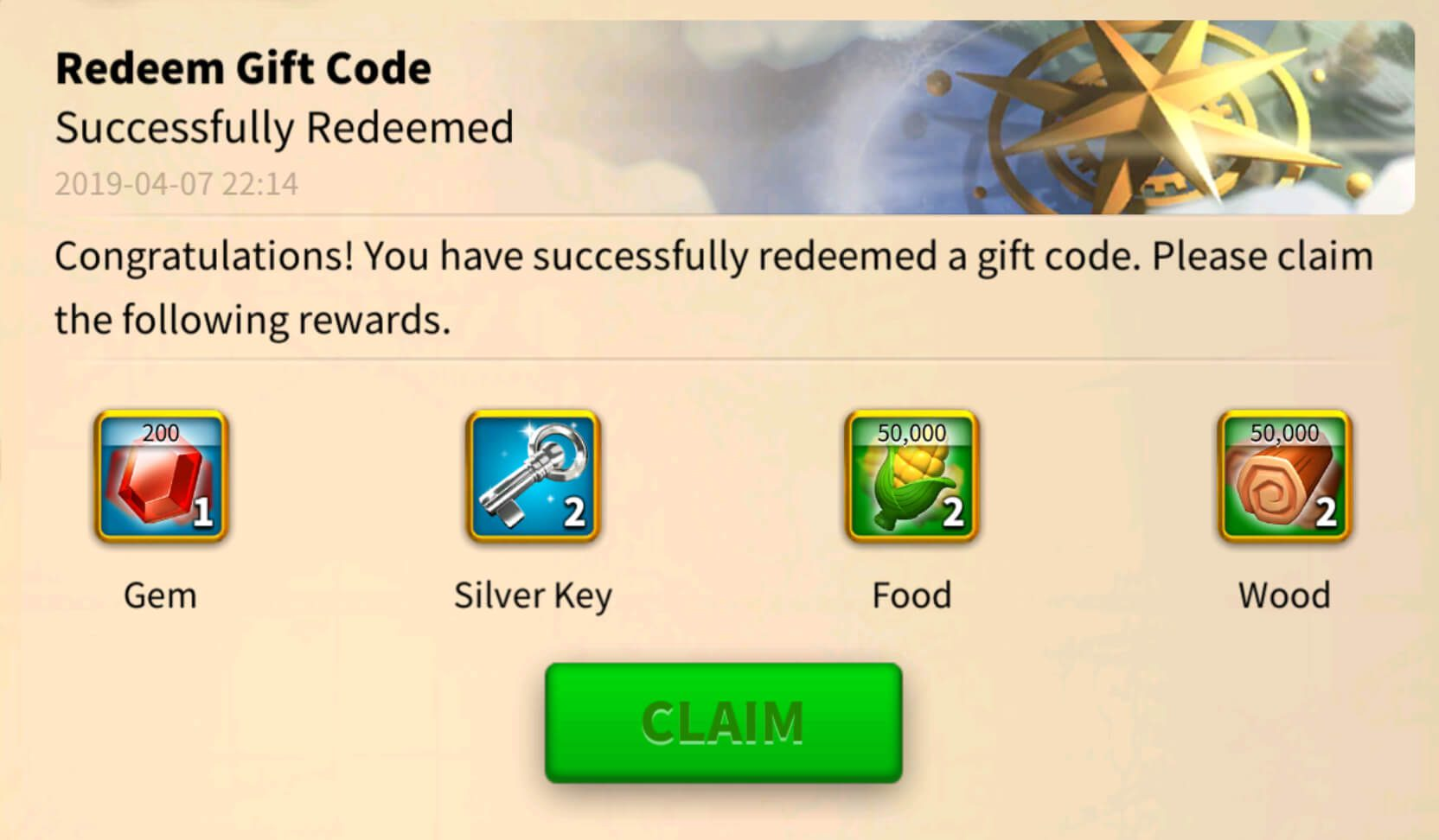 Un code cadeau Rise of Kingdoms qui marche