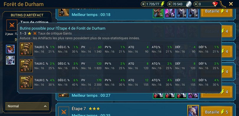 Les statistiques des artefacts de Raid: Shadow Legends