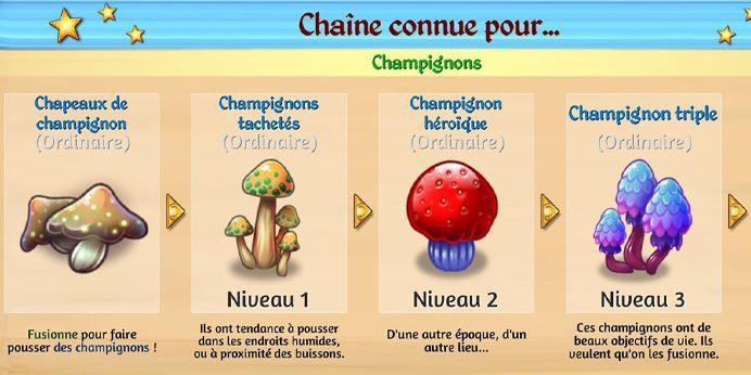 Les champignons dans le Défi 16 Merge Dragons.
