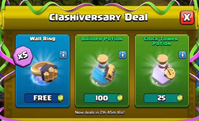 Des deals spéciaux pour le clashanniversary.