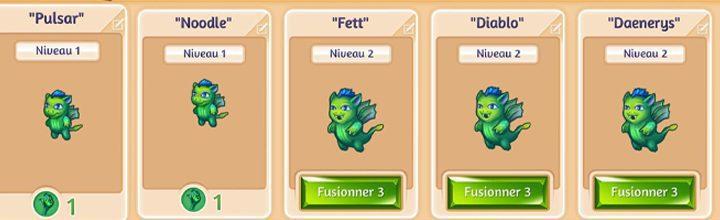 Dragons verts dans le Défi 5 Merge Dragons.