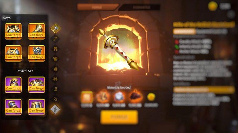 Exemple des nouveaux équipements de Rise of Kingdoms