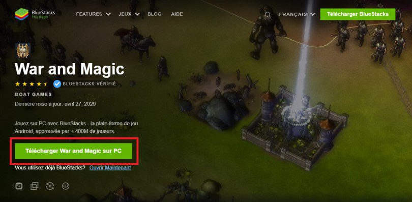 Télécharger un émulateur Android pour jouer à War and Magic