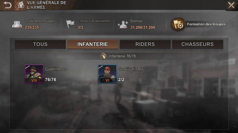 Troupe infanterie de State of Survival