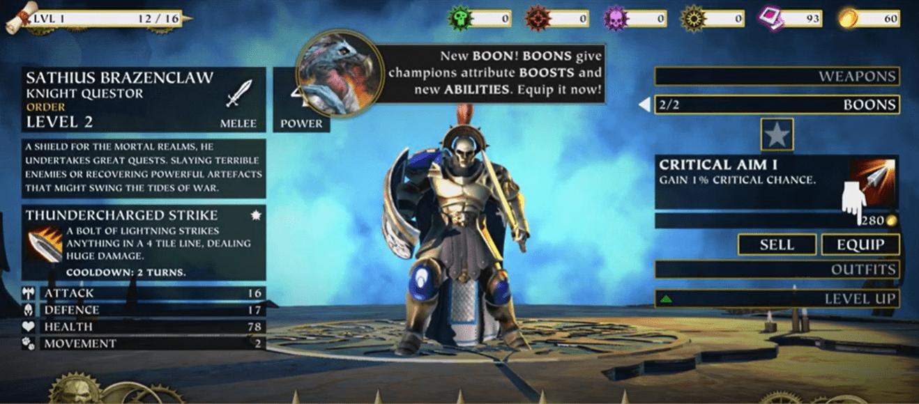 Équipements sur le jeu Warhammer mobile.