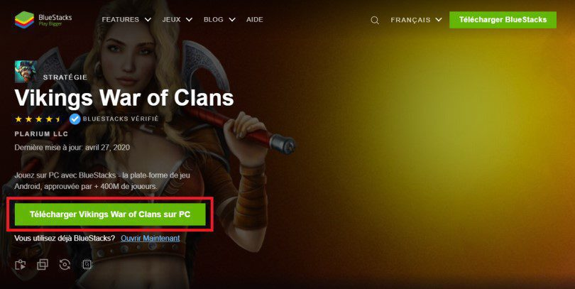 Télécharger l'émulateur Android BlueStacks et Vikings War of Clans