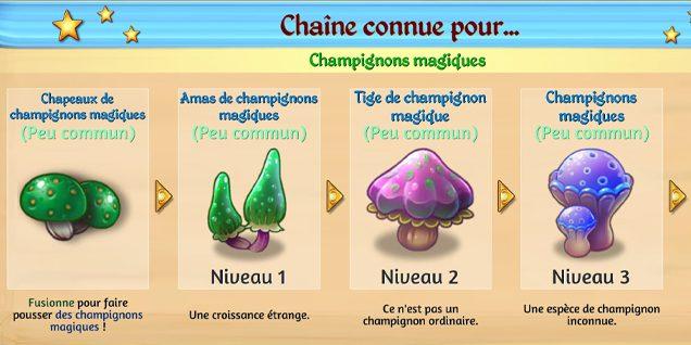 Les champignons du défi 20 Merge Dragons