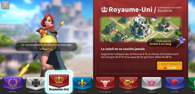 Boadicée Royaume uni Rise of Kingdoms