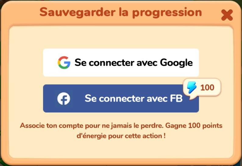 Connexion Google ou Facebook
