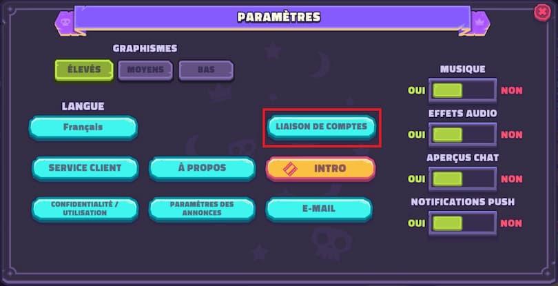 Paramètres du jeu