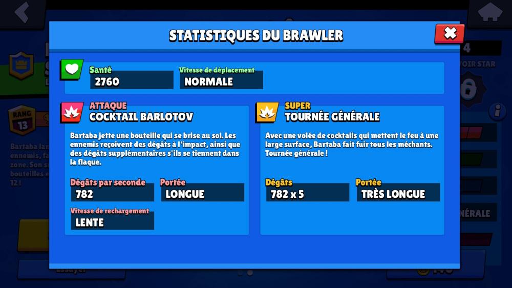 Statistiques du brawler Bartaba