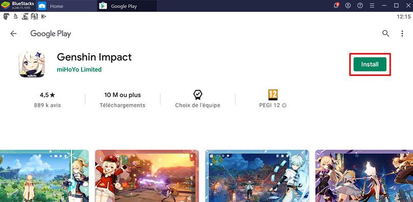 Install Android emulator Genshin Impact