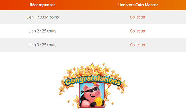 Liens Coin Master quotidiens