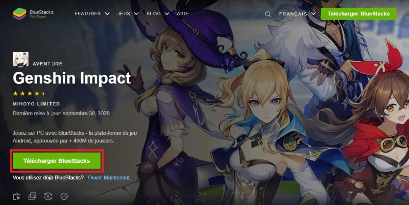 Télécharger un émulateur Android pour jouer à Genshin Impact