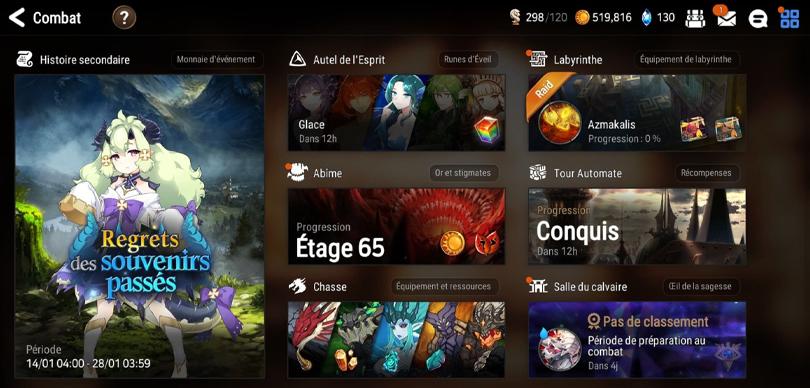 Modes de jeu dans Epic Seven
