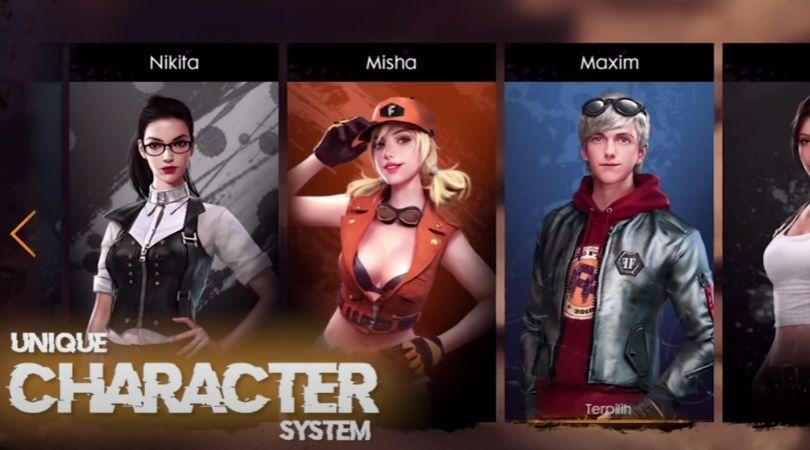 Battle Royale mobile - Choix des personnages dans Garena Free Fire