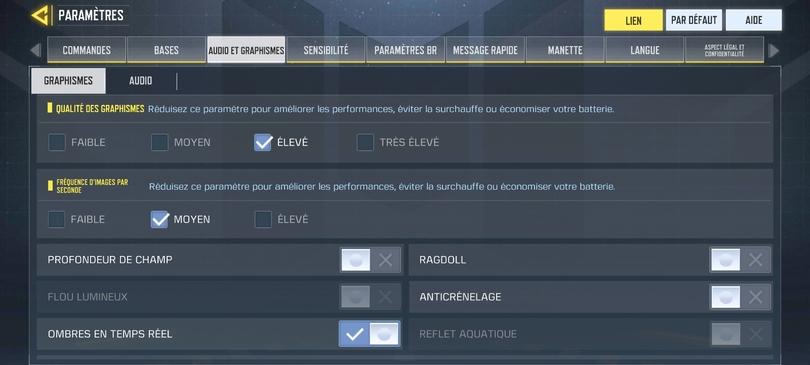 Vérifier les paramètres du jeu