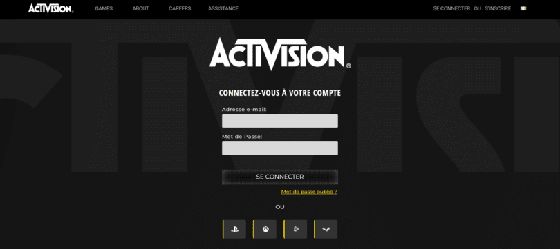 Connexion à son compte Activison
