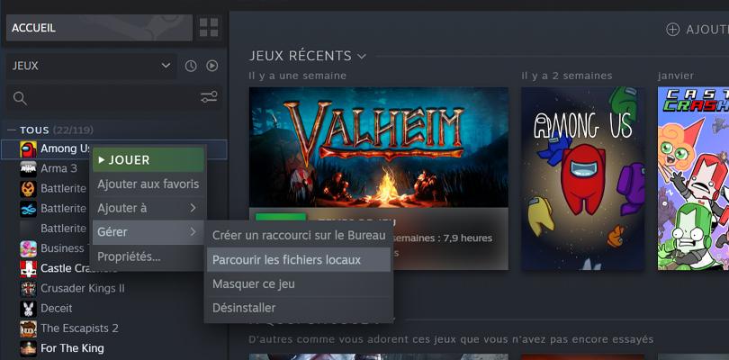 Mode Cupidon Among Us : trouver les fichiers locaux dans Steam
