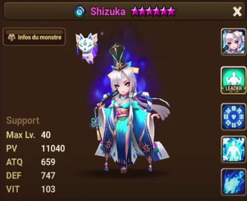 Summoners War Shizuka statistiques