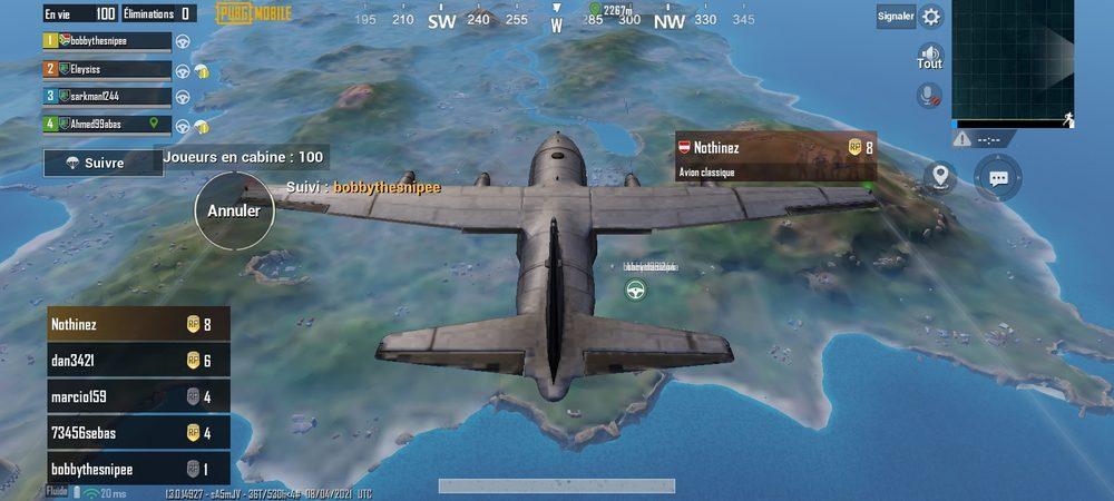 L'avion dans PUBG mobile