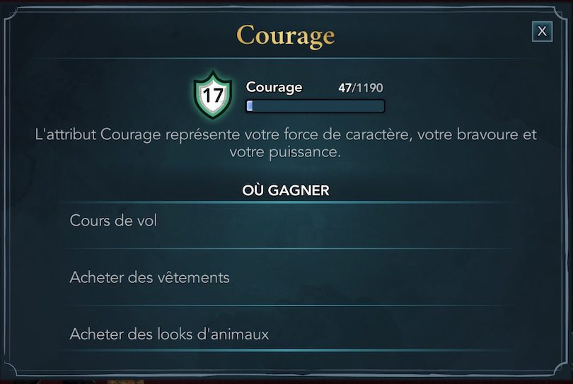 Attribut courage dans Harry Potter Hogwarts Mystery