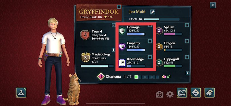 Guide attributes Harry Potter Hogwarts Mystery